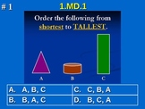 1st Grade Common Core Math 1 MD.1 Order three objects by l