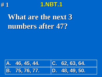 1st Grade Common Core Math 1 NBT.1 Extend The Counting Sequence 1.NBT.1