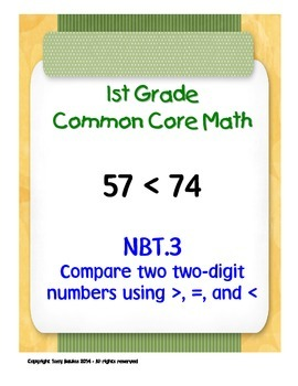 1st Grade Common Core Math 1 NBT.3 Compare Two Two-Digit Numbers 1.NBT.3 PDF