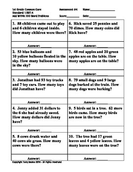 1st Grade Common Core Math 1 NBT.4 Add Within 100 Word Problems 1.NBT.4 PDF