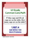 1st Grade Common Core Math 1 NBT.4 Add Within 100 Word Problems 1.NBT.4 PDF