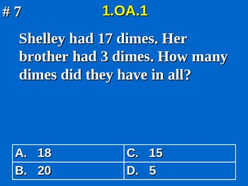 1st Grade Common Core Math 1 OA.1 Addition and Subtraction Word Problems 1.OA.1