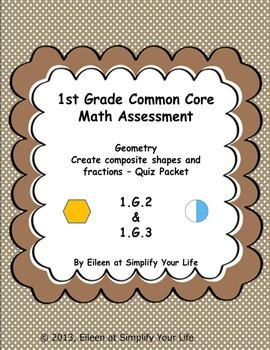 1st Grade Common Core Math Assessment:  1.G.2 & 1.G.3 Geometry