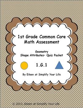 1st Grade Common Core Math Assessment:  1.G.1 Geometry Sha