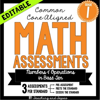 1st Grade Common Core Math Assessment- Numbers and Operations