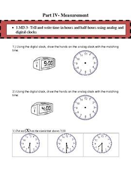 1st Grade Common Core Math Assessment- Winter