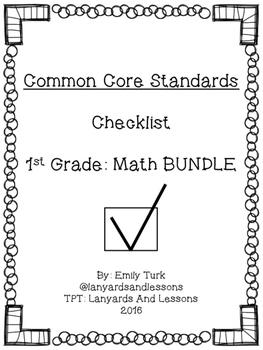 1st Grade Common Core: Math BUNDLE Checklist