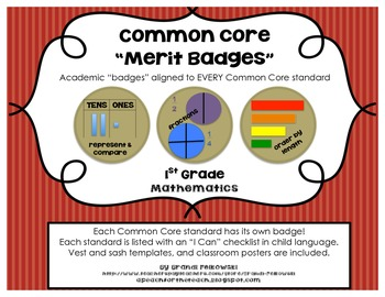 "1st Grade Common Core Math Badges, with ""I Can"" Checklists"
