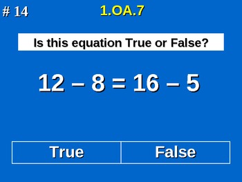 1st Grade Common Core Math - Determine If Equations Are True Or False 1.OA.7