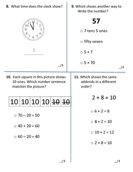 1st Grade Common Core Math EOY End of Year Assessment