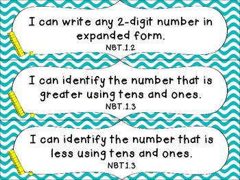 1st Grade Common Core Math I Can Statement Cards_Waves