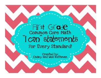 """1st Grade Common Core Math """"I Can"""" Statements - Chevron Print"""