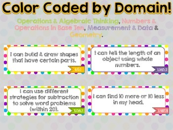 "1st Grade Common Core Math ""I Can"" Statements (Polka Dot)"
