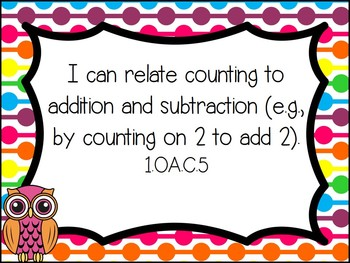 "1st Grade Common Core Math ""I Can"" Statements - Rainbows & Owls Theme"