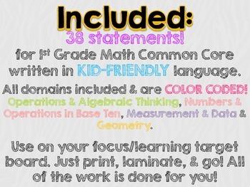 "1st Grade Common Core Math ""I Can"" Statements (Zebra)"