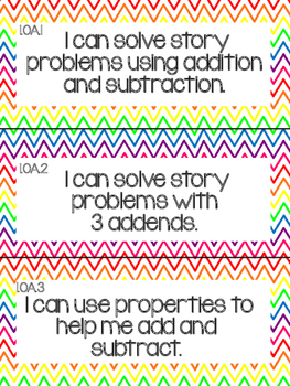 1st Grade Common Core Math Objectives
