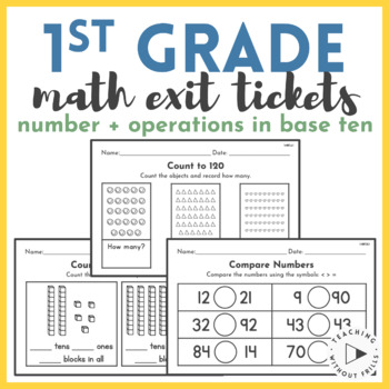 1st Grade Common Core Math Quick Checks or Exit Tickets Assessment- NBT
