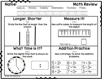 1st Grade Common Core Math Review: Measurement (set 6)