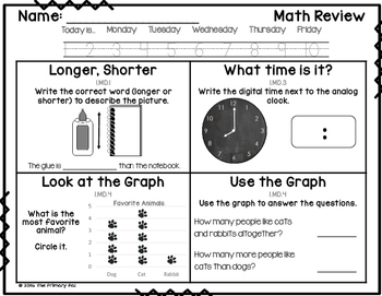 1st Grade Common Core Math Review: Set 7