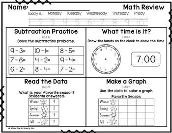 1st Grade Common Core Math Review: Set 8