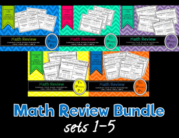 1st Grade Common Core Math Review: Sets 1-5 Bundle