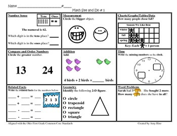 1st Grade Common Core Math See & Do Daily Review / Morning Work