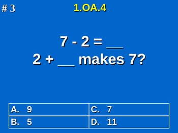 1st Grade Common Core Math Subtraction As An Unknown-Addend Problem 1.OA.4