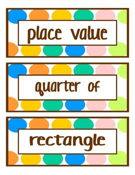 1st Grade Common Core Math Vocab Cards