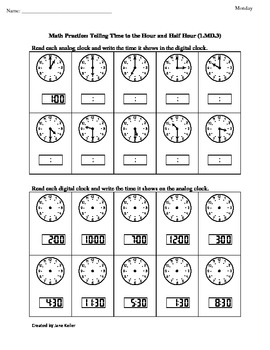 1st Grade Common Core Math Worksheet 1.MD.3 Telling Time to the Hour & Half Hour