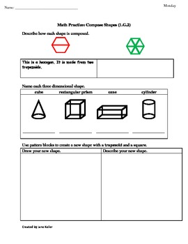 1st Grade Common Core Math Worksheets 1.G.2 Composing Shapes and 3D Shapes
