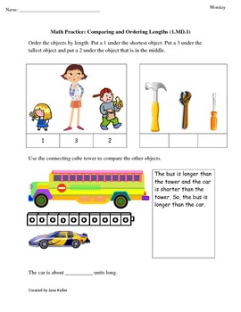 1st Grade Common Core Math Worksheets 1.MD.1... by Jane Keller ...