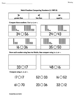 1st Grade Common Core Math Worksheets 1.NBT.3 Comparing Numbers