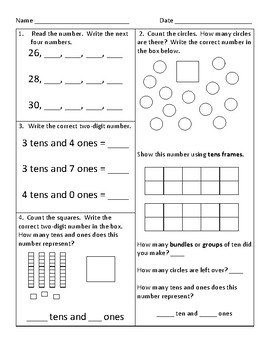 1st Grade Common Core Math Worksheets by Kathryn Gehrs | TpT