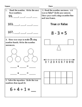 1st Grade Common Core Math Worksheets