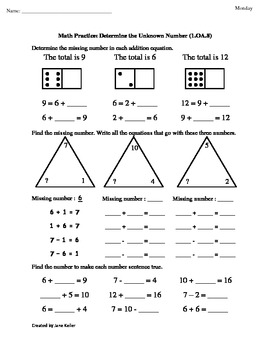 1st Grade Common Core Math Worksheets Determine the Unknown Number 1 ...