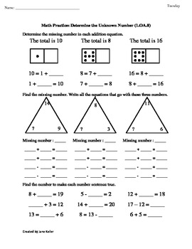 1st Grade Common Core Math Worksheets Determine the Unknown Number 1.OA.8