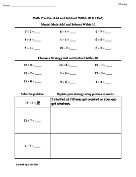 1st Grade Common Core Math Worksheets Fluently Add and Subtract 1.OA.6