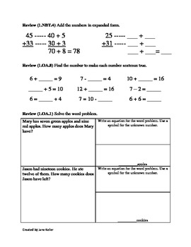 1st Grade Common Core Math Worksheets Subtract Multiples ...