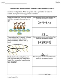 1st Grade Common Core Math Worksheets Word Problems with three addends 1.OA.2