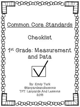 1st Grade Common Core: Measurement and Data Checklist