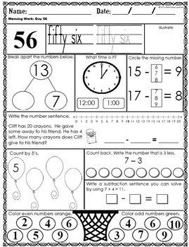 First Grade Morning Math-2nd Qtr