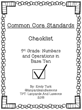 1st Grade Common Core: Numbers and Operations in Base Ten Checklist