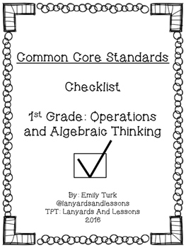 1st Grade Common Core: Operations and Algebraic Thinking Checklist