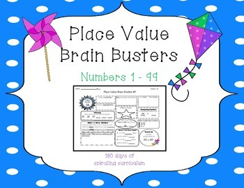 1st Grade CCSS Place Value Brain Busters Daily Spiral Revi