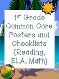 1st Grade Common Core Posters and Checklists (Beach theme)