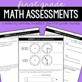 Math Pacing & Assessments by Quarter, 1st Grade
