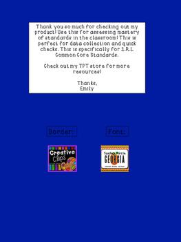1st Grade Common Core: Reading: Literature Checklist