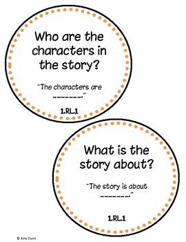 1st Grade Common Core Reading Question Cards with Sentence Frames