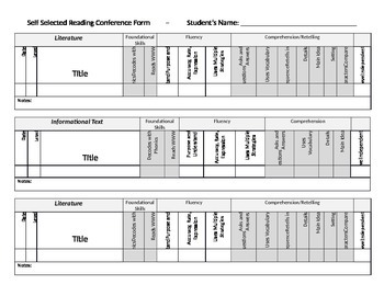 1st Grade Common Core Self Selected Reading Conference Form