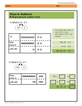 Singapore Mastery Method 1st Grade Subtraction Common Core (numbers to 20)